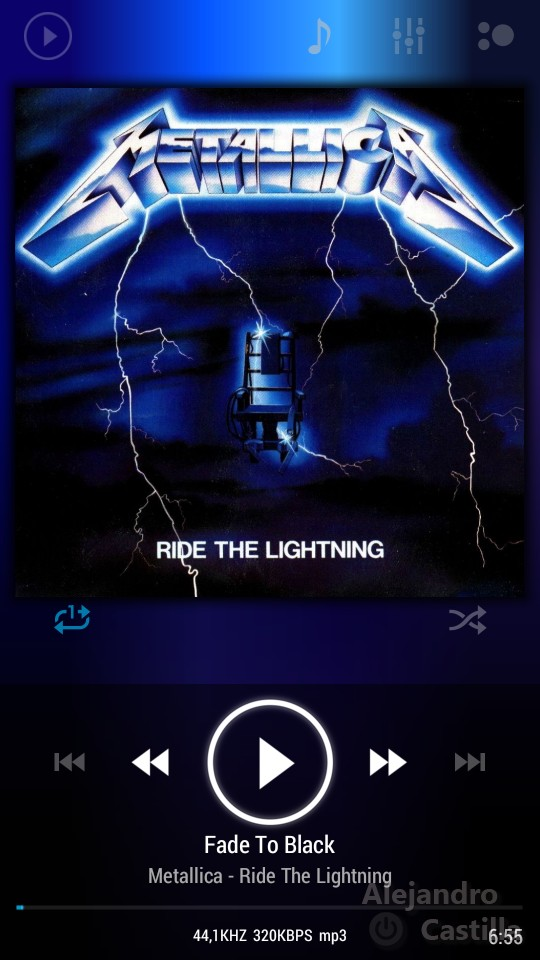 poweramp screenshot captura metallica