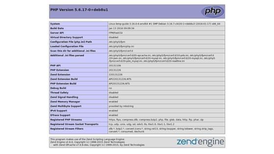 phpinfo LEMP Debian 8